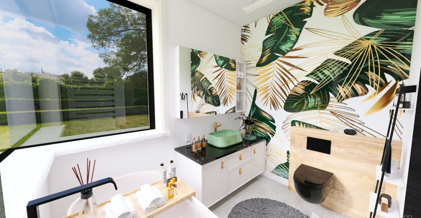 SALON Z ANEKSEM KUCHENNYM Interior Design Render