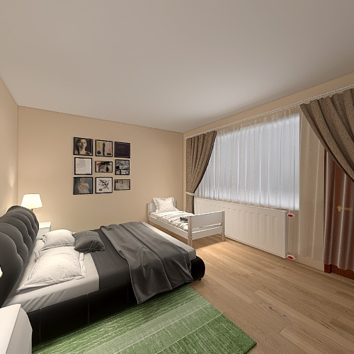 upravený obývací pokoj a ložnice Interior Design Render