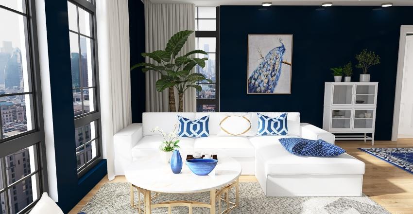 Blue and white. Interior Design Render